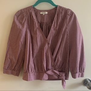Gingham Madewell wrap blouse, size S